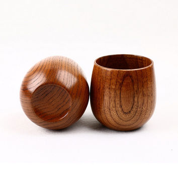 1pc Natural Jujube Wooden Bar Cups Mugs with Handgrip Coffee Tea Milk Travel Wine Beer Mugs for Home Bar