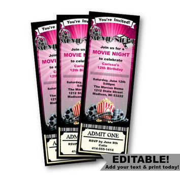 Movie Ticket Invitation Birthday Movie Night girl pink purple invite ticket stub party  popcorn ticket admit one printable editable template