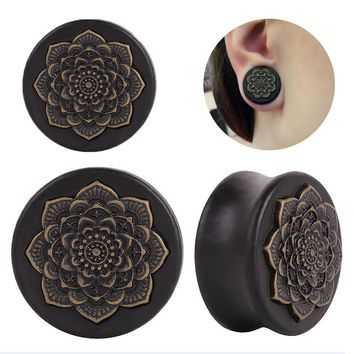 New Black Wood Datura Flowers Tunnel Ear Plug Only Ornate Copper Piercing Jewelr