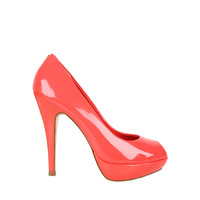 Womens Orange Patent Peep Toe Heeled Shoes