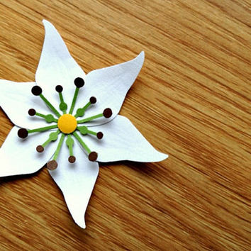 White Lily Embellishments - Large Handmade Made to Order Paper Flowers for invitations, shower or wedding favors, gift wrap, scrapbooking