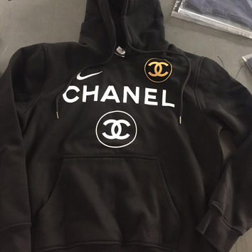 Fashion Nike and Chanel Print Hooded Pullover Tops Sweater Sweatshirts