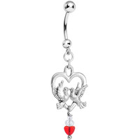 Handcrafted Heart Love Bird Belly Ring MADE WITH SWAROVSKI ELEMENTS | Body Candy Body Jewelry