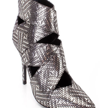 Black Silver Single Sole Ankle Booties Shimmer Fabric
