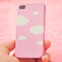 Apple iphone case for iphone iphone 5 iphone 4 iphone 4s iPhone 3Gs : Cute Clouds with Pink sky