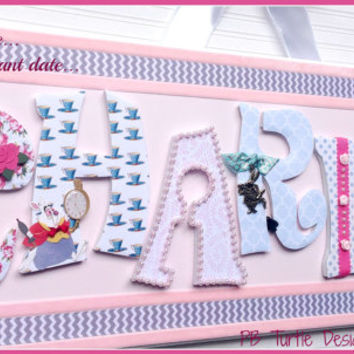 Alice In Wonderland Custom Personalized Name Plaque, Kids Name, Nursery Sign, Nursery, Baby, Girl Name Sign, Baby Name Sign, Kids, Decor