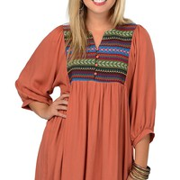 Umgee Women's Rust with Multicolor Embroidery 3/4 Sleeve Peasant Dress