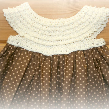 "unique newborn baby crochet & fabric dress taupe skirt cream crocheted yoke cotton 0 -3m 16"" chest crochetyknitsnbits Etsy online"