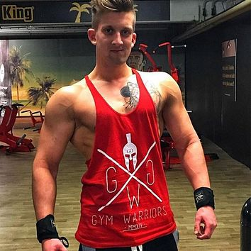 5bbe0a92c7a Men Gyms Tops cotton Sleeveless t shirt Fitness Workout Clothing Vest Male  Casual Crossfit Sling Undershirt
