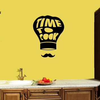 Wall Decal Kitchen Decor Phrase Words Time to Cook Vinyl Sticker (ed1118)