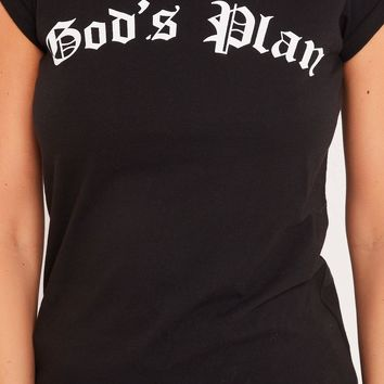 gigi black god's plan slogan t-shirt