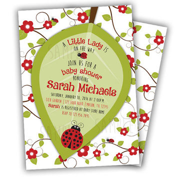 Ladybug Baby Shower Invitation - Little Lady On The Way Girls Baby Shower Invitations - Lil Lady Bug Baby Shower Invites Girl Red FLowers