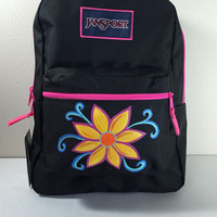 JanSport Backpack in Black with Hand Painted Flower and Swirls