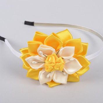 Handmade designer hairband unusual hairband with flower cute accessory for kids
