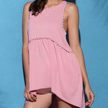 Pink Lace Trimmed Assymetric Tank Top