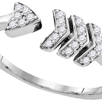 Sterling Silver Womens Round Diamond Bisected Arrow Band Ring 1/6 Cttw 110769