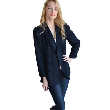 Vintage Black Blazer Womens Petite Dress Coat Classy Outerwear Button Blazer Suit Top Womens Jacket Size 4