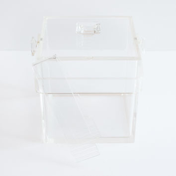 Super Chic Vintage Clear Lucite Ice Bucket with Lid and Tongs
