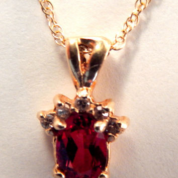 """Garnet Solitaire with Diamond Accents Women's Necklace 14k Yellow Gold Vintage Fine Jewelry January Birthstone Gift Pendant 18"""" Chain"""