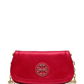 Tory Burch Amanda Leather Chain Logo Clutch