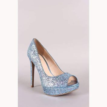 Enchanted Encrusted Peep Toe Stiletto Platform Pump