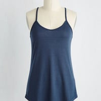 Minimal Mid-length Spaghetti Straps Peace and Kayak Top in Navy
