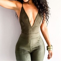 deep V Backless tight rompers jumpsuit
