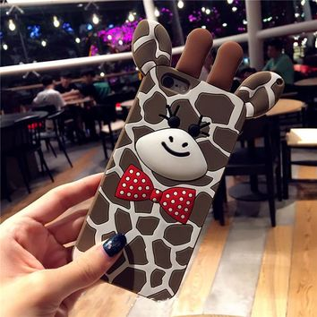 3D Giraffe Phone Case for iPhone 8 7 7plus 6 6s plus Cartoon Silicone Back Case Funda Cover Bowknot Free Shipping