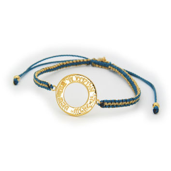 "Adjustable Silver Gold Plated  Blue  and Metal Cord Hand Made Hebrew ""Shema"" Open Circle Bracelet"