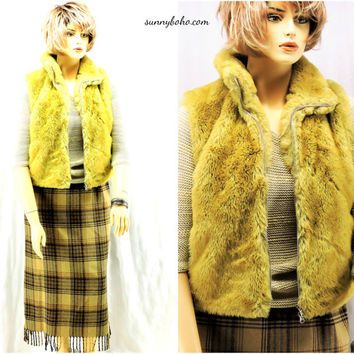 1970s hippie shaggy vest vintage 70s faux fur vest golden blonde faux fur vest boho gold fake fur vest Pleasant Pheasant Canada