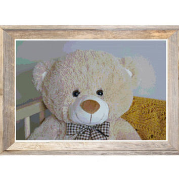Teddy Bear Cross Stitch Pattern Mustard