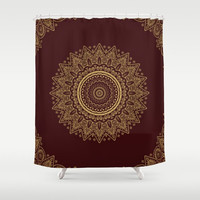 "Shower Curtain - Royal red and Gold Lace  - 71"" by 74"" Home Decor, Bathroom, Bath, Dorm, Girl, Decor, Boho, Mandala, Red, Hippie, Bohemian"