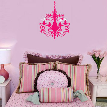 Elegant Princess Chandelier with sparkles Pink GIRLS Room lettering Vinyl Wall Letters saying Decal nursery LARGE size options decals