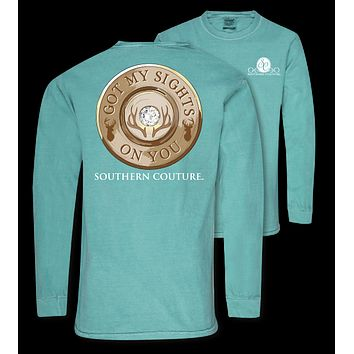 Southern Couture Sights On You Deer Comfort Colors Long Sleeve T-Shirt