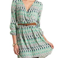 LONG SLEEVE BELTED PRINT DRESS
