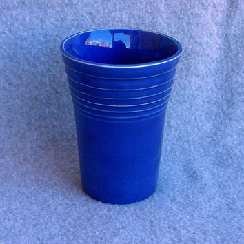 Cobalt Fiesta Water Tumbler Homer Laughlin Company 1936 -1946 Fredrick Rhead Design Vintage Old 30's Original Fiestaware Blue Drinking Glass