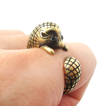 Realistic Hedgehog Porcupine Shaped Animal Wrap Ring in Brass | US Size 6 to 9