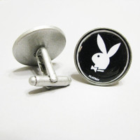 Playboy Bunny Cufflinks  Antique Silver Plated Cufflinks Gifts for Guys Boyfriend Gift Mens Gift Ideas Cuff Links