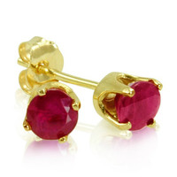 4mm Round Ruby Stud Earrings set in 14 Karat Yellow Gold (.60ct tw)