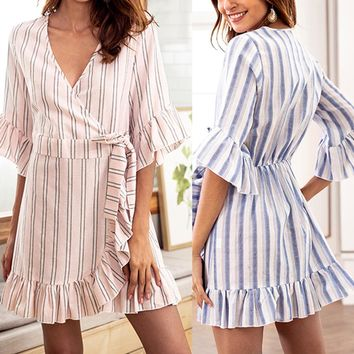 Women Striped Ruffled V-Neck Lace-Up Belt Flared Five-Point Sleeve Dress
