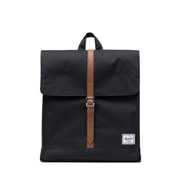 Herschel Supply Co.  City Black Tan Synthetic Leather Mid Volume Backpack