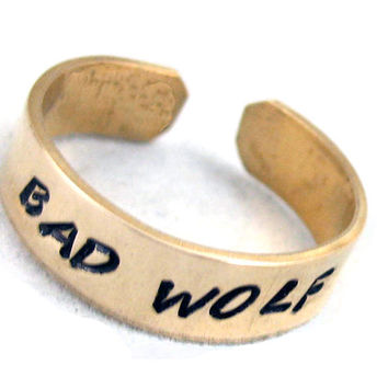 Bad Wolf- hand stamped gold brass ring, Doctor Who Inspired