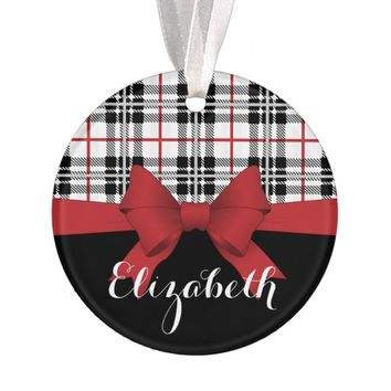 Red Black Tartan Plaid and Ribbon Kids Cute Modern Ornament