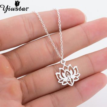 Yiustar Yoga Lotus Stainless Steel Necklaces Lovely Lotus Indian Gold Chain Link Necklace Punk Fashion Chokers for Women Jewelry