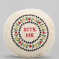 Subversive Cross Stitch Bite Me Pillow - Urban Outfitters