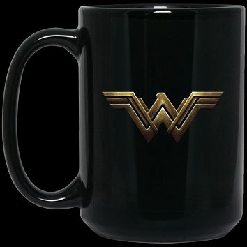 Wonder Woman Insignia BM15OZ 15 oz. Black Mug