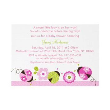 Pink Green Ladybug Flower Baby Shower Invitations from Zazzle.com