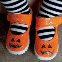 Sparkley pumpkin handpainted maryjane shoes for girls by JLPerillo