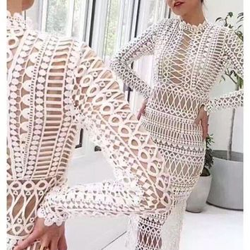 Two piece long sleeved lace outfit