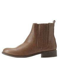 Lt Brown Side-Gored Flat Chelsea Boots by Charlotte Russe